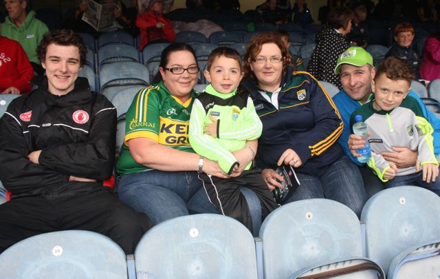Darragh McKeever, Tyrone, Karen McAuliffe, Luke Hurley, Mairead Nolan, DJ Downey and Michael Nolan, Brosna and Duagh, at Croke Park for the Kerry matches on Sunday. Photo by Dermot Crean