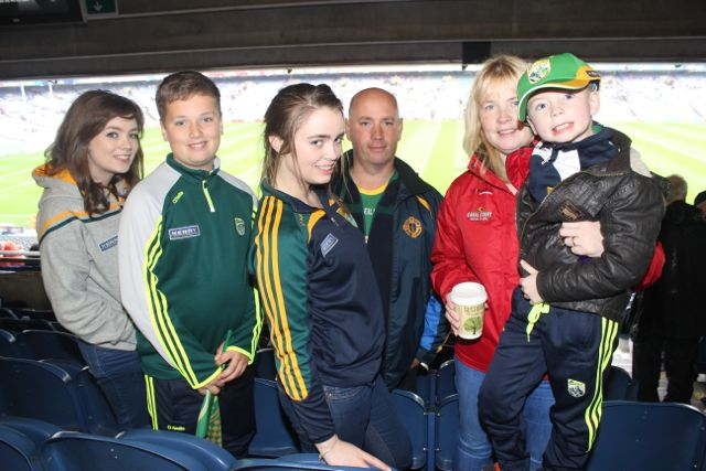 The Connor family from County Down who are great Kerry supporters, from left; Lucy, Ronan, Rosie, Paddy, Leanne and Danny, at Croke Park for the Kerry matches on Sunday. Photo by Dermot Crean