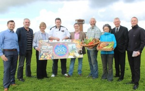 Launching the Tralee Food Festival were, from left: Niall Harty (Caveman Food Company), Frank Hartnett (Kerry County Council), Jean Foley (Kerry County Council), Noal Keane (Chef), John Drummey, Thomas O'Connor (Transition Kerry), Niamh Ni Goold (Transition Kerry) and Kieran Ruttledge (Tralee Chamber Alliance). Photo by Gavin O'Connor.