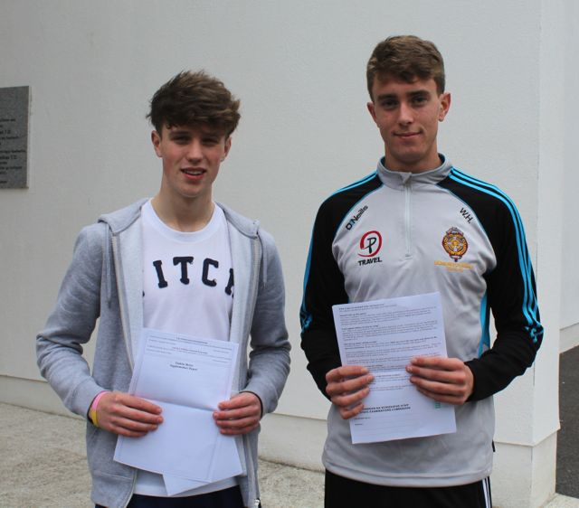 CBS The Green students Ger O'Connor and William Hurley collecting their results early this morning. Photo by Fergus Dennehy.