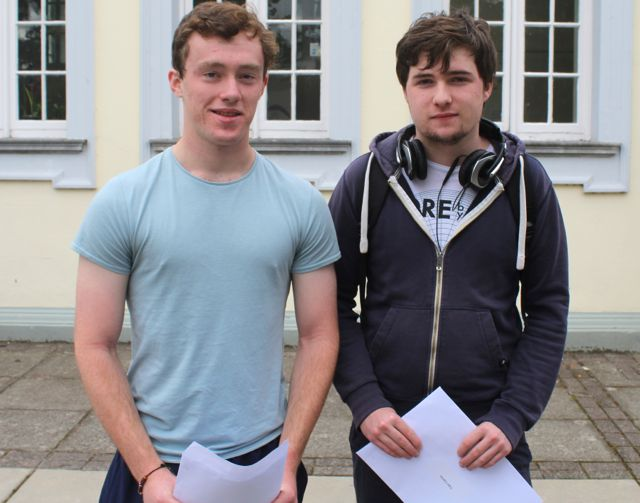 Gaelcholaiste Ciarrai students Darragh Ó Caoimh Cheallaig and Cian Carlos collecting their results early this morning. Photo by Fergus Dennehy.