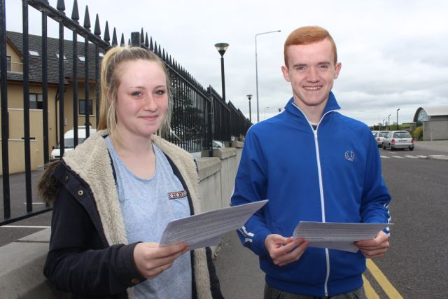 Nicky Breen and Greg Leahy with their Leaving Cert Applied results at Mercy Mounthawk on Wednesday morning. Photo by Dermot Crean