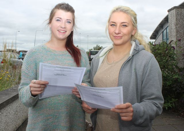 Ciara Williams and Vilte Kaletkaite with their Leaving Cert results at Mercy Mounthawk on Wednesday morning. Photo by Dermot Crean