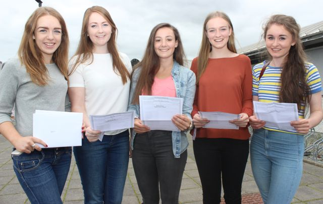Laoise McElligott, Sarah Fitzgerald, Kelly Moloney, Sarah Cooper and Siobhan Breen with their Leaving Cert results at Mercy Mounthawk on Wednesday morning. Photo by Dermot Crean