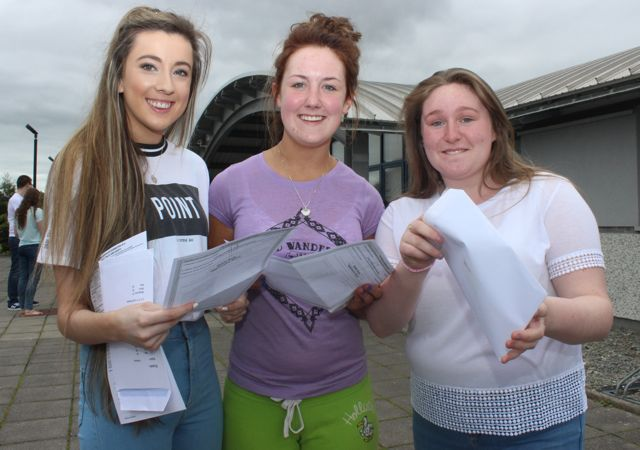 Nicole Comerford, Majella Shanahan and Rebecca O'Halloran with their Leaving Cert results at Mercy Mounthawk on Wednesday morning. Photo by Dermot Crean