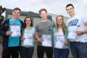 Sean Dowling, Tréise Moran, Andrew McEllistrim, Aoife Garvey and Gavin Connolly with their Leaving Cert results at Mercy Mounthawk on Wednesday morning. Photo by Dermot Crean