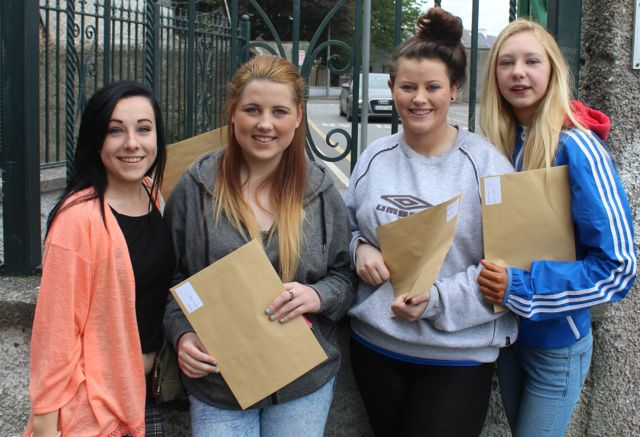 Presentation students Katie O'Brien, Zoe Perry, Sarah Jane O'Brien and Shannon Lawlor collecting their results early this morning. Photo by Fergus Dennehy.