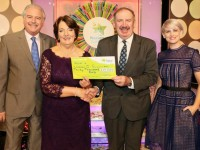 Noreen O'Sullivan from Killarney, Co. Kerry has won €30,000 including a holiday to the Greek Islands on last Saturdays (1st August 2015) National Lottery Winning Streak game show on RTE.  Pictured here at the presentation of the winning cheques were from left to right: Marty Whelan, Winning Streak game show co-host; Noreen O'Sullivan, the winning player; Peter Plunkett, Head of IT at the National Lottery who made the presentation and Sinead Kennedy Winning Streak game show co-host. The winning ticket was bought from Kearney's Centra, Ballydesmond, Mallow, Co.Cork. Pic: Mac Innes Photography.