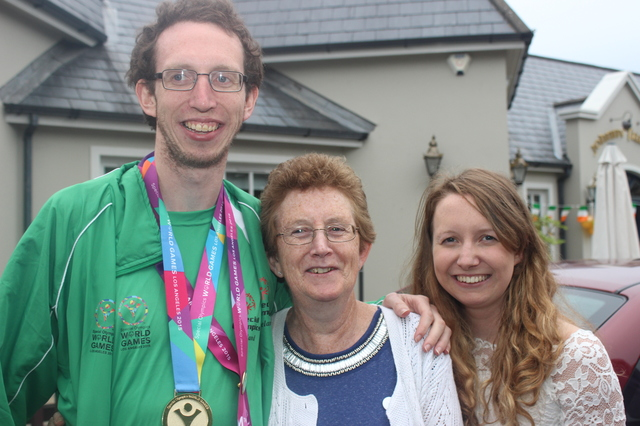 Brendan O'Connell with his mother Elizebeth and sister Claire. Photo by Gavin O'Connor.