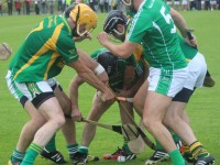 A 'shmozzle' ensues in the County Championship, semi-final in Abbeydorney, between Kilmoyley and Ballyduff. Photo by Gavin O'Connor.