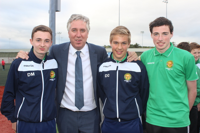 At the official opening of the new all-weather pitch in Mounthawk Park were, from left: Dylan Murphy, John Delaney, David Dineen and Mark Kelliher. Photo by Galvin O'Connor.