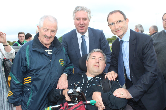 At the official opening of the new all-weather pitch in Mounthawk Park were, from left: George Dineen Senior and Junior with John Delaney and Martin O'Neil. Photo by Galvin O'Connor.