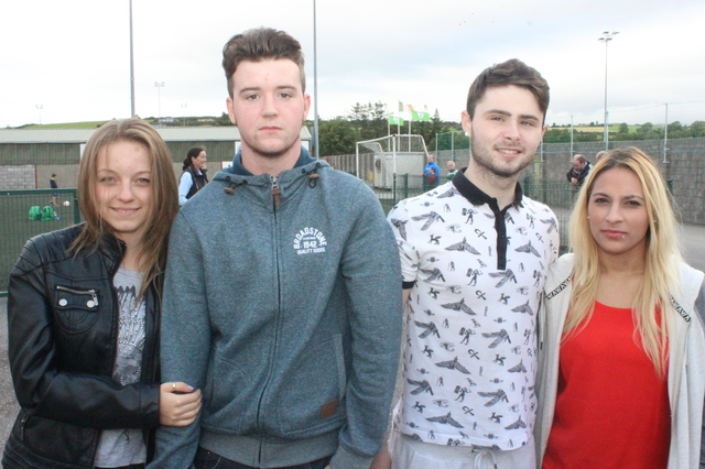 At the official opening of the new all-weather pitch in Mounthawk Park were, from left: Claudia Rzeznik, Jack Paul Enright, Kyle Pustrd and Laura Dunkova. Photo by Galvin O'Connor.