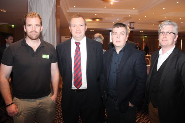 John McCarthy, B Mobile, Frank Fleming, AIB, Sean O'Grady, Kerry Ice Cream Ltd and Danny Leane, Annbury's Boutique at the AIB Lunchtime Seminar for the Retail Sector in the Fels Point Hotel on Friday. Photo by Dermot Crean
