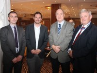 Eddie Bowler, AIB, Martin McElligott of McElligott's Castleisland, Ger O'Connor, AIB Castleisland and Michael McElligott, McElligotts Castleisland at the AIB Lunchtime Seminar for the Retail Sector in the Fels Point Hotel on Friday. Photo by Dermot Crean