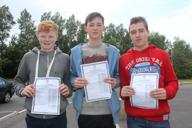 CBS students, Diarmaid Murphy, Bryan McKenna and Darragh O'Brien, with their Junior Cert results on Wednesday morning. Photo by Dermot Crean