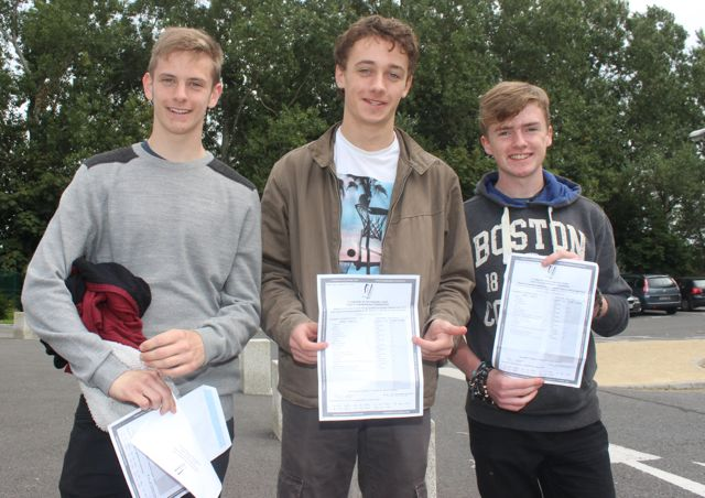 CBS students, Bryan Murphy, Odhran O'Hanlon and Leon Dunne Hourigan with their Junior Cert results on Wednesday morning. Photo by Dermot Crean