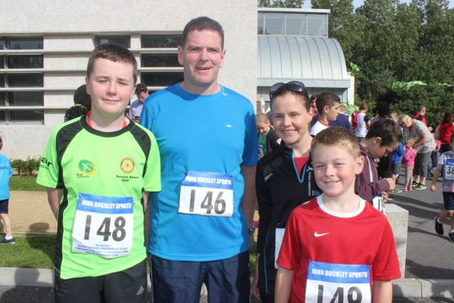Conor Crowley, Raphael Crowley, Tracy Smith and Sean Crowley at the CBS 5k and 3k Fun Run at the school on Sunday. Photo by Dermot Crean