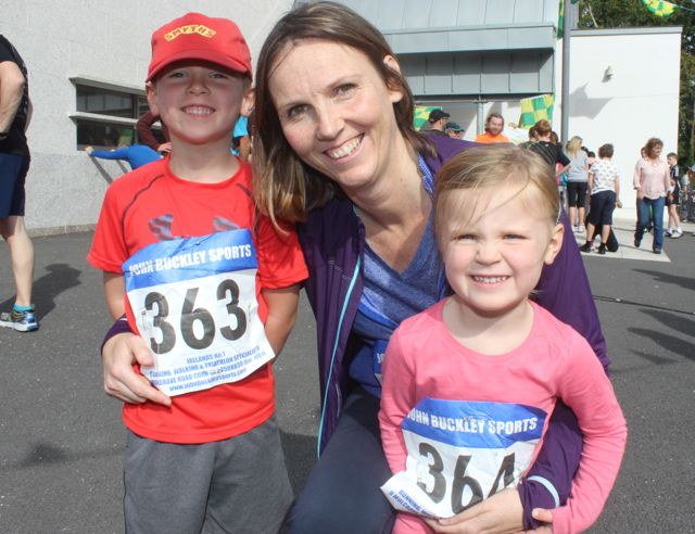 Liam, Olivia and Hannah O'Rahilly at the CBS 5k and 3k Fun Run at the school on Sunday. Photo by Dermot Crean