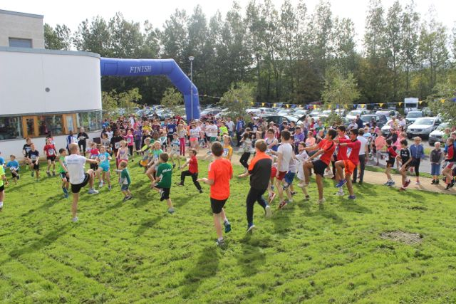 Limbering up at the CBS 5k and 3k Fun Run at the school on Sunday. Photo by Dermot Crean