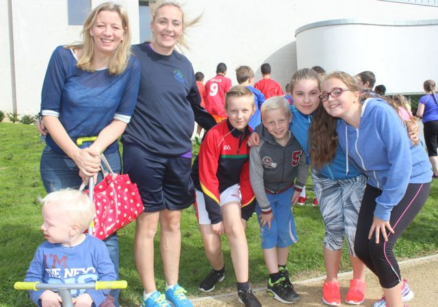 Elaine Flynn, Flynn Howarth, Mary Gardiner, Shane Howarth, Zach Howarth, Molly Quane and Aoife Burke at the CBS 5k and 3k Fun Run at the school on Sunday. Photo by Dermot Crean