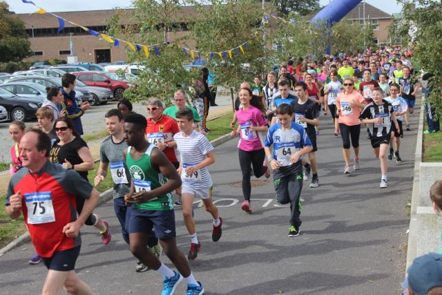 Participants taking off at the start of the CBS 5k and 3k Fun Run at the school on Sunday. Photo by Dermot Crean