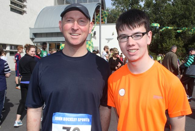 Mike Brosnan and Zach Brosnan at the CBS 5k and 3k Fun Run at the school on Sunday. Photo by Dermot Crean