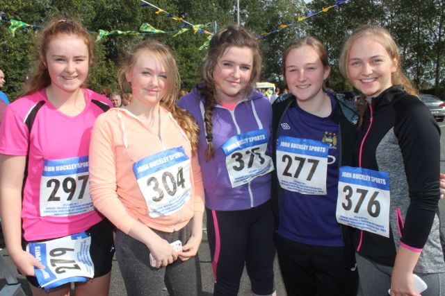 Ava Kelliher, Caoimhe Tobin, Tara Foran, Leanne Savage and Rebecca Poultney at the CBS 5k and 3k Fun Run at the school on Sunday. Photo by Dermot Crean