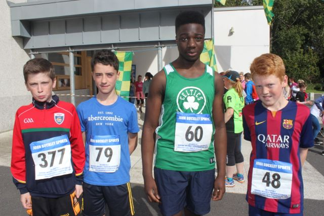 Conor Kavanagh, Darragh Moriarty, Leke Duyile and Dylan O'Mahony at the CBS 5k and 3k Fun Run at the school on Sunday. Photo by Dermot Crean