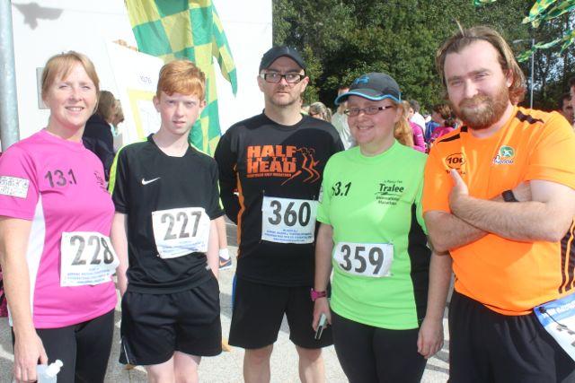 Lorna White, Tony White, Martin O'Sullivan, Anne O'Shea and Brian O'Shea at the CBS 5k and 3k Fun Run at the school on Sunday. Photo by Dermot Crean