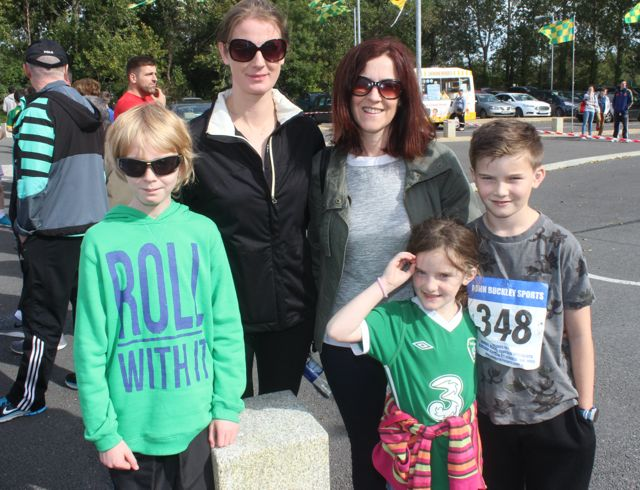 Louis and Sarah Tobin, with Marian, Grace O'Connor and Alan O'Connor at the CBS 5k and 3k Fun Run at the school on Sunday. Photo by Dermot Crean