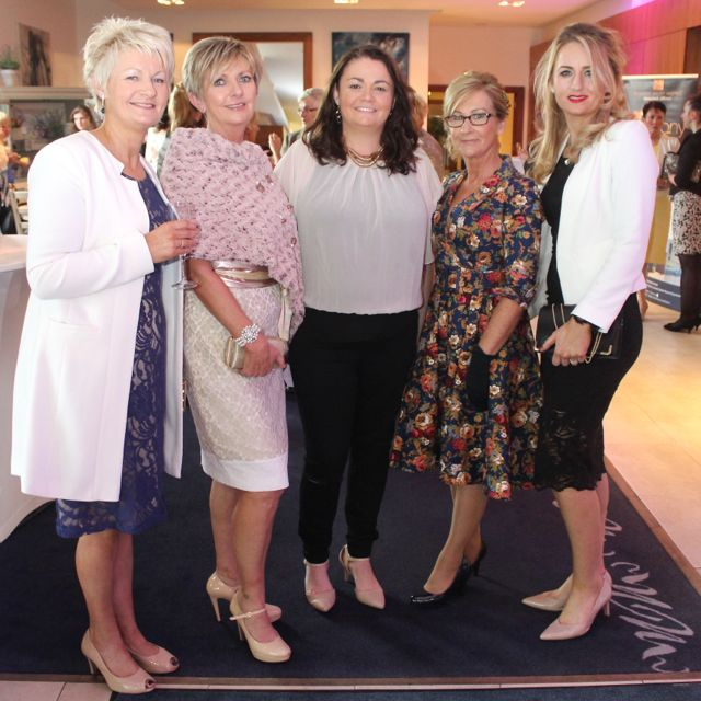 Eleanor Quinlan, Nora Finucane, Audrey Galvin, Eilish Stack and Helena Walsh, Listowel, at the Fashion Soiree in the Manor West Hotel on Friday night. Photo by Dermot Crean
