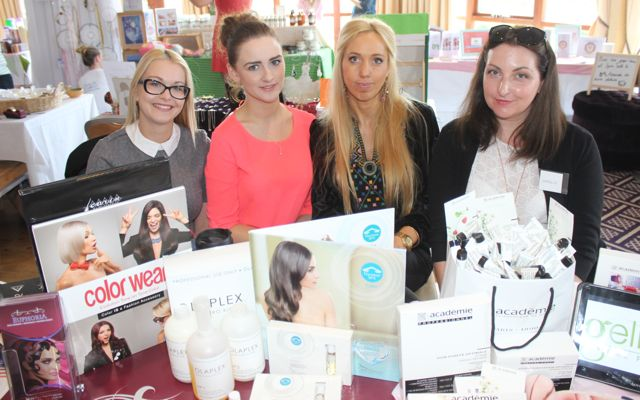 Alicja Nowak, Mairead McCarthy, Edita Talmantiene and Natalie Ciuprinikova of Euphoria Hair Beauty and Nails, Ivy Terrace, at the Kerry Health Fitness and Beauty Expo at the Fels Point Hotel on Sunday. Photo by Dermot Crean