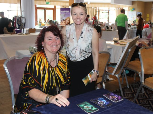 Christine Klein, Soul Card Reading and Karen Kelleher of Forever Living, at the Kerry Health Fitness and Beauty Expo at the Fels Point Hotel on Sunday. Photo by Dermot Crean