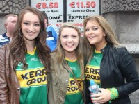 Dawn Moran, Sophie Costello and Rebecca Quirke, Tralee, up for the match on Sunday. Photo by Dermot Crean