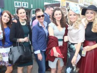 Alison Lynch, Siobhan Nolan, Anita Barry, Catherine Twomey, Caoimhe Scannell and Lucille Fennell, Ballylongford, enjoying Ladies Day at Listowel Races on Friday. Photo by Dermot Crean