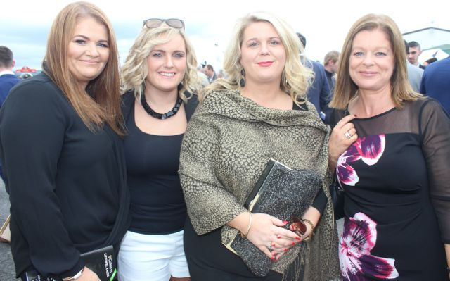 Sonia O'Connor, Lixnaw, Orla Curtin, Galway, Geraldine Enright, Lixnaw and Elaine Collins, Cork, enjoying Ladies Day at Listowel Races on Friday. Photo by Dermot Crean