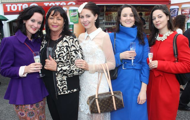 North Kerry ladies Katie Barry, Maura Mackin, Siobhan Galvin, Jodie Barry and Audrey Collins enjoying Ladies Day at Listowel Races on Friday. Photo by Dermot Crean