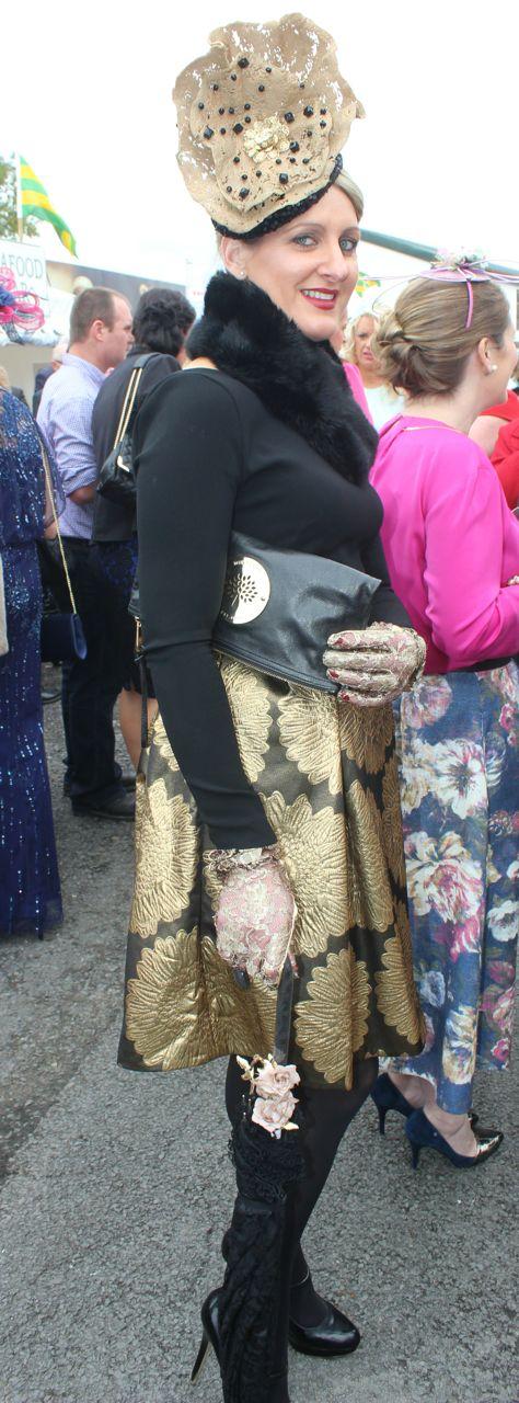 Nollaig McCarthy, Finuge, enjoying Ladies Day at Listowel Races on Friday. Photo by Dermot Crean