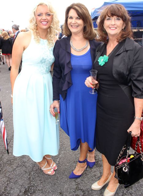 Sharon Quilter, Margaret Leen and Bridie Canty, enjoying Ladies Day at Listowel Races on Friday. Photo by Dermot Crean