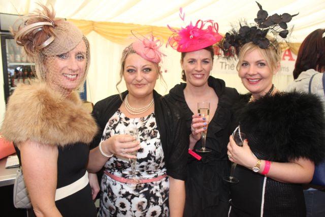 Joanne Foley, Glin, Emma Joy, Listowel, Annette O'Flaherty, Glin and Kerry O'Sullivan, Glin, enjoying Ladies Day at Listowel Races on Friday. Photo by Dermot Crean