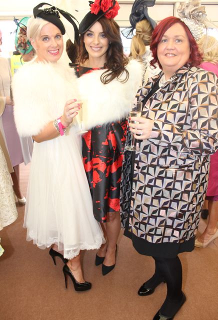 Orlagh Winters, Maria Keane and Margaret Brick, enjoying Ladies Day at Listowel Races on Friday. Photo by Dermot Crean
