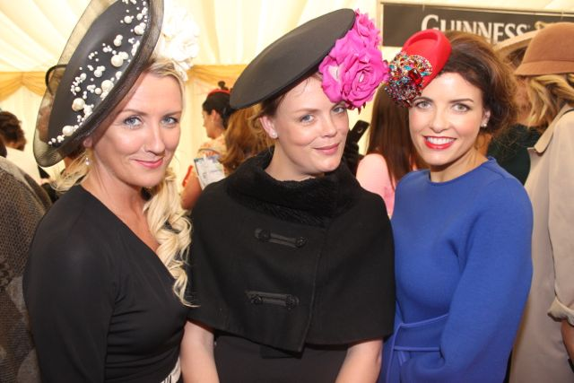 Caroline Madden, Dunleer, Co Louth, Lisa O'Leary, Tralee, and Ellen Wallace, Glounthane, Co Cork, enjoying Ladies Day at Listowel Races on Friday. Photo by Dermot Crean