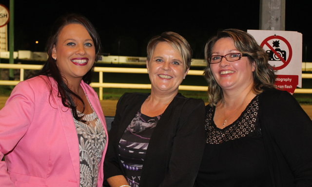 Stacey O'Mahony, Catherine McCormick and Elaine Costello enjoy the Mitchels GAA Club night at the dogs on Saturday night. Photo by Fergus Dennehy.