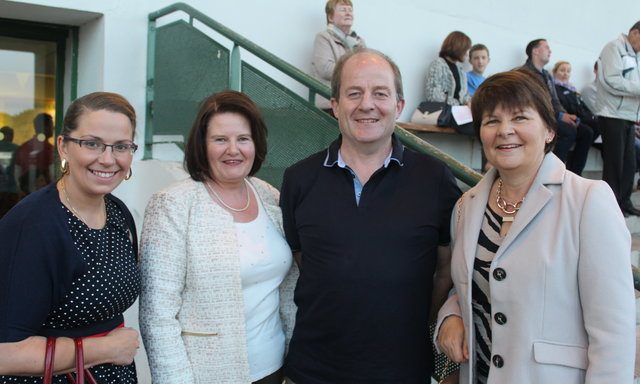 Louise Morrison, Joan O'Sullivan, Tim Broderick and Theresa Dean enjoy the Mitchels GAA Club night at the dogs on Saturday night. Photo by Fergus Dennehy.