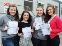 Collecting their Junior Certificate Results were, Mercy Mounthawk, students, from left: Ashling McGlaughlin, Leanne O'Brien, Allie McCord, Emely Quirke. Photo by Gavin O'Connor.