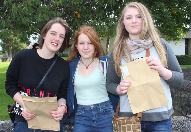 Presentation Tralee students, Kate Moore, Maura Adams and Shannon Bunch with their Junior Cert results on Wednesday morning. Photo by Dermot Crean
