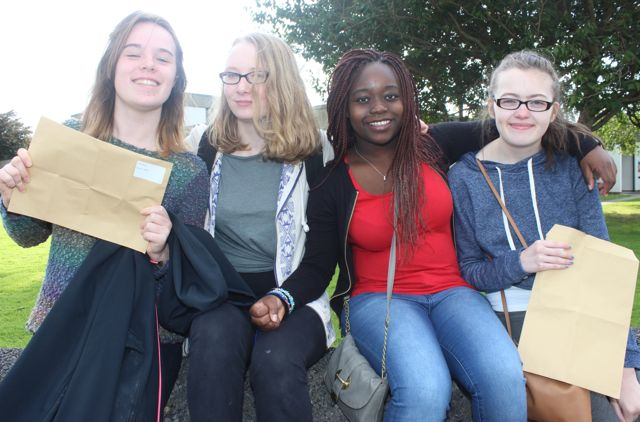 Presentation Tralee students, Aoife Murphy, Yvette Daly, Riukudzo Nheweyembwa and Niamh Furlong with their Junior Cert results on Wednesday morning. Photo by Dermot Crean