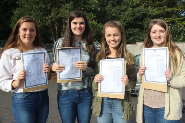 Presentation Tralee students, Nora O'Connell, Isabel Horgan, Muireann Moriarty and Kate O'Connor with their Junior Cert results on Wednesday morning. Photo by Dermot Crean
