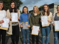 Presentation Tralee students, Emma Slattery, Aoife Dillane, Sarah Tansley, Amy Cullen, Erika O'Sullivan and Emma Sheehy with their Junior Cert results on Wednesday morning. Photo by Dermot Crean